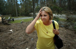 Thelma Judice finds the remaims of her house completely destroyed near Pearlington, Ms.