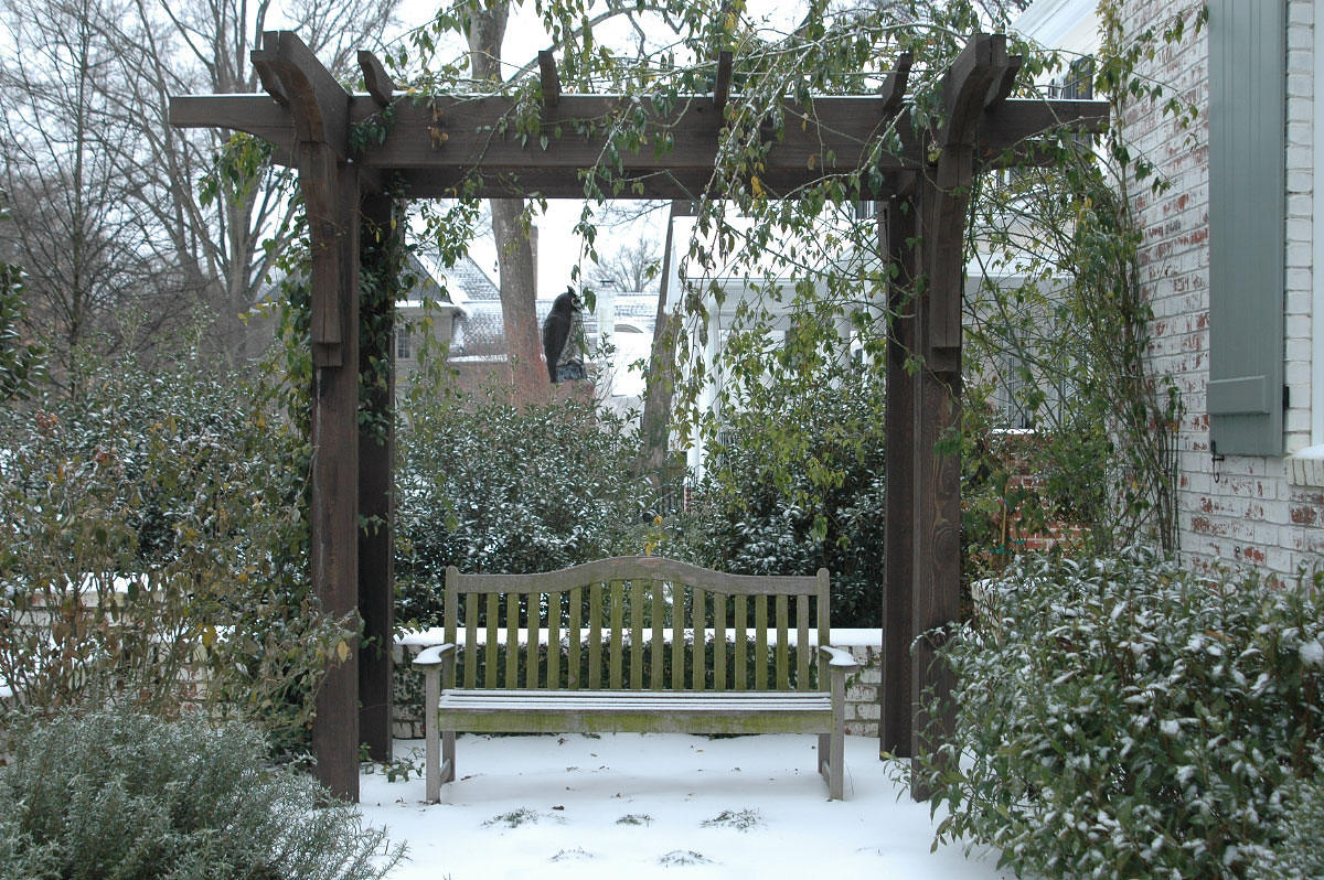 As a mirror image of the same location photographed for the Spring Garden gallery, this romantic garden pergola becomes a vantage point as the surrounding flora are now at rest in their dormant winter state.