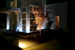This evening image taken of this contemporary home and landscape in Cotswold shows the magical union of professional landscape design and lighting. Lighting brings the colors, textures and dimension to life after dark for all-hour enjoyment!