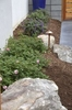The use of natural stone and custom outdoor lighting throughout  helps soften the landscape and adds visual interest.