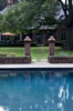 The vintage columns that mark the entrance to the pool promise solace and sanctuary for the senses.