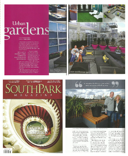 Our award winning Charlotte rooftop garden project was featured in a focus article in Southpark magazine. The story highlights the homeowner's elation in the design...in regards to the numerous benefits outlined in the story, this quote is taken directly from the text:{quote}In summertime this door stays open, so this is basically an extension of the living room.{quote}-- Denise Lindsay