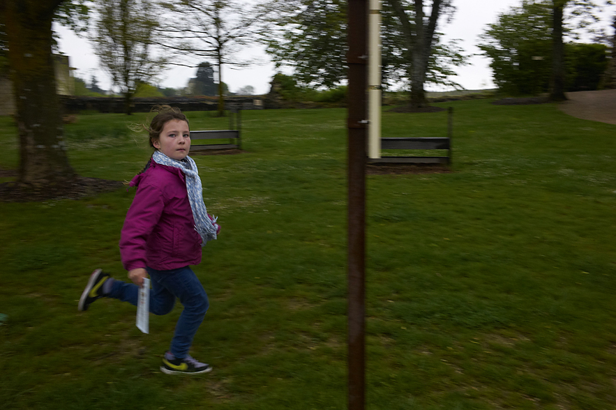 Chateau de Langeais, girl running in the park of the chateau, May, 2013