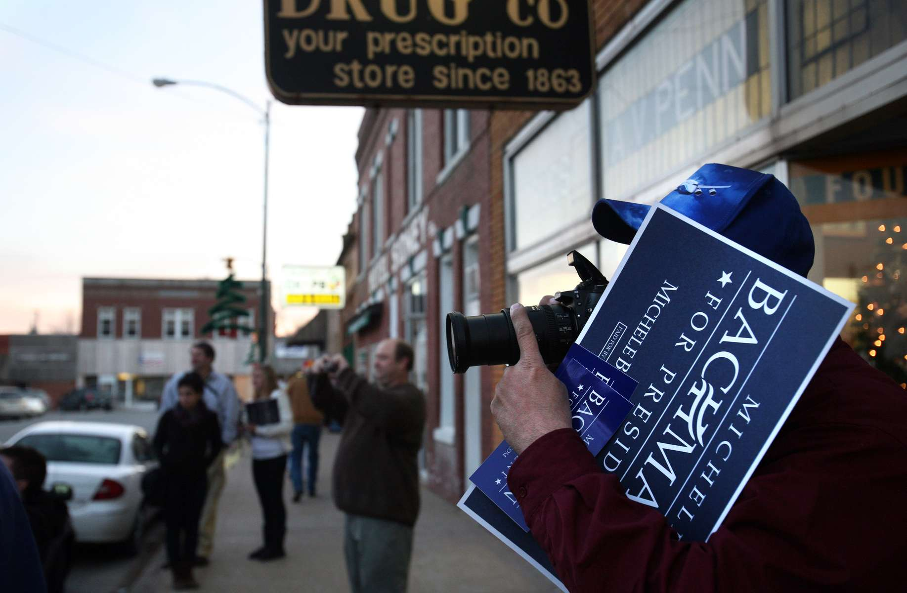 K.C. Jefferies of Seattle, Washington documents Republican presidential candidate Michele Bachmann\'s visit to Sidney, Iowa.
