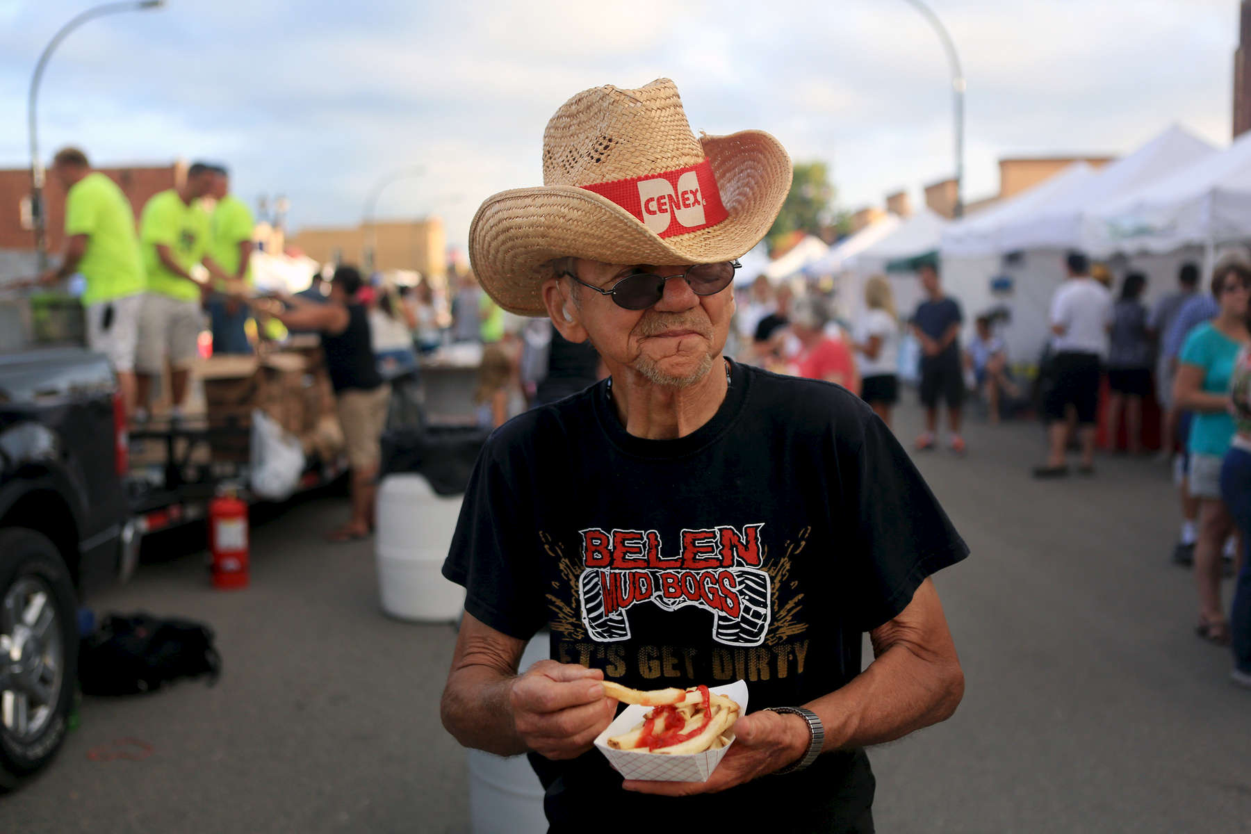 Marlo Nordlund of Elbow Lake, Minn. enjoys a basket of french fries during Potato Days in Barnesville, Minn.