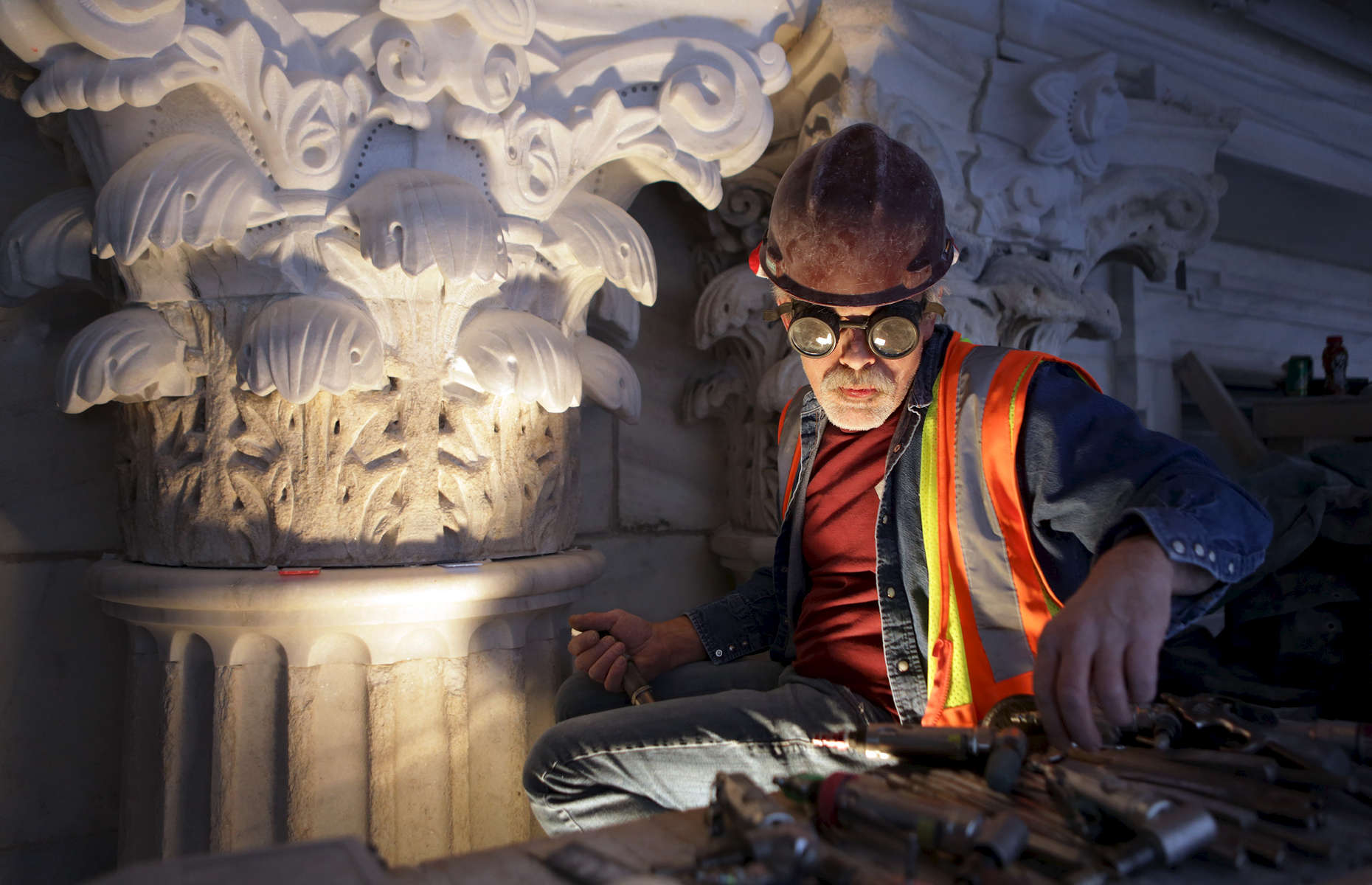 Master stone carver Mark Wickstrom selected a tool while working on exterior restoration at the state Capitol in St. Paul, Minn. Wickstrom, who has been working on the Capitol project for two years, trained as a master stone caver in France and Germany.