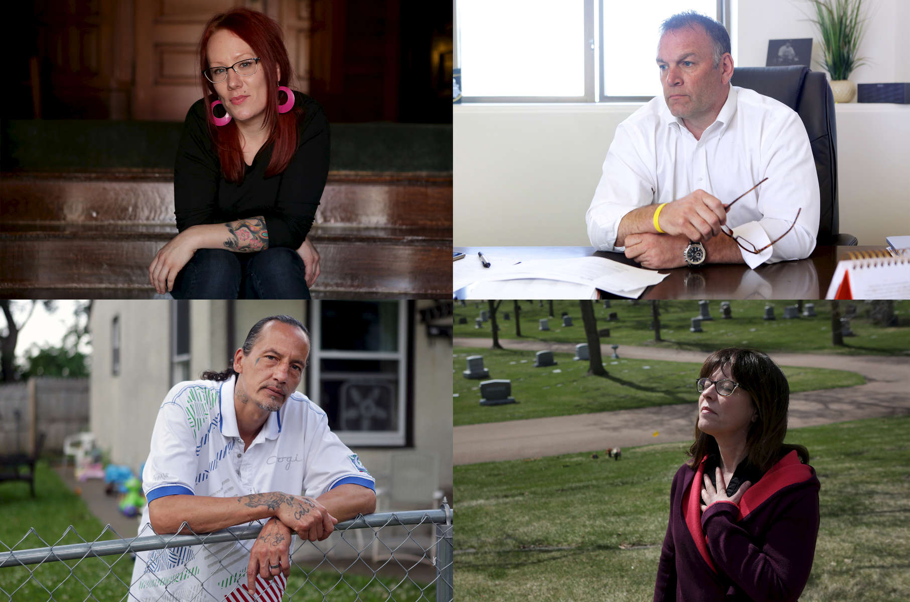Clockwise from upper left, Liz Casper, Dave Baker, James Cross and Lexi Reed Holtum have all been affected by the heroin epidemic in Minnesota.