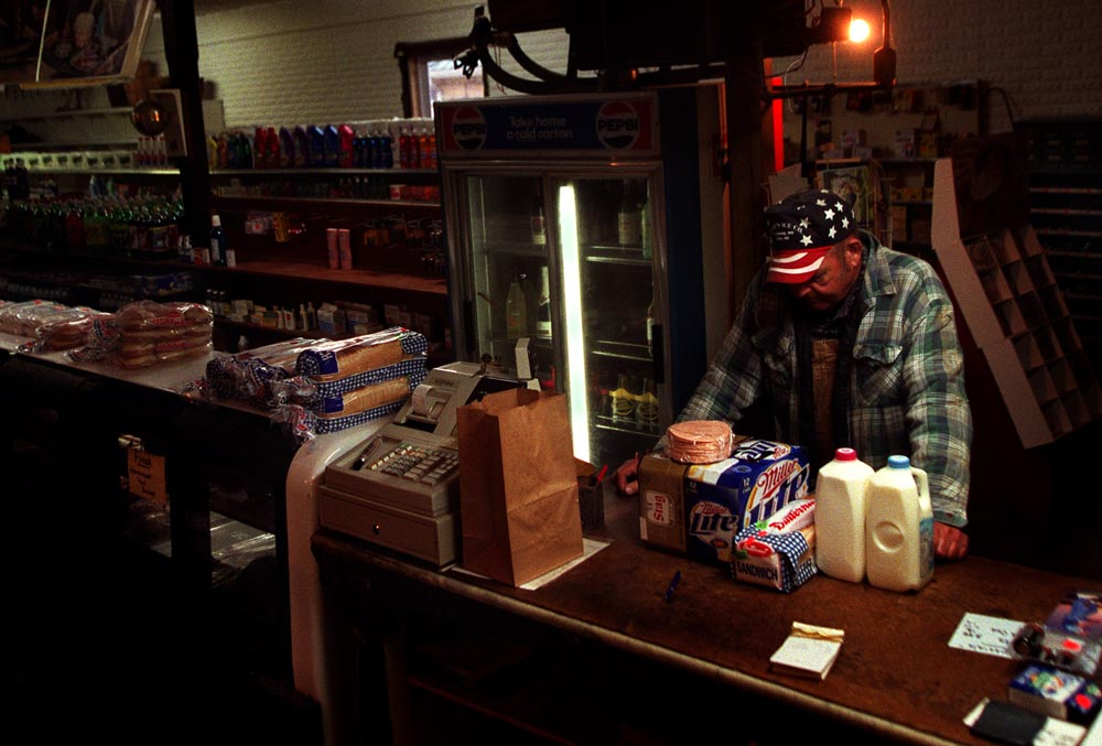 After a long day of trucking, Tubby Mebruer waits to purchase his weekly staples at Eisterhold Country Store.