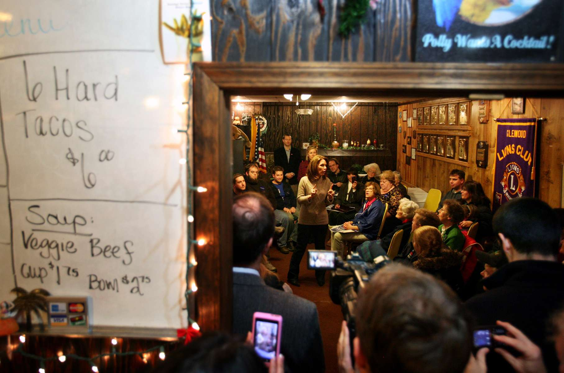 Republican presidential candidate Michele Bachmann speaks to a full house at Oasis Steak House & Lounge in Glenwood, Iowa.