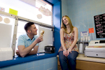 engagement session couple at ice cream shop. Hoboken wedding photographers