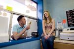 engagement session couple at ice cream shop. Hoboken wedding photographers
