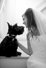 Bride witting with dog on stairs before wedding. NJ wedding photographers. Hoboken wedding photographers