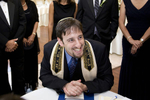 Rabbi preforms ketubah ceremony at Jewish Wedding ceremony at Stone House at Stilring Ridge