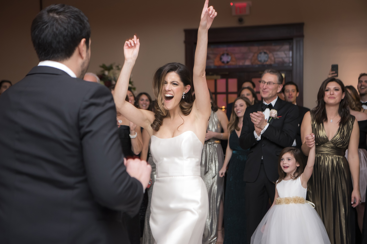 bride and groom dancing at wedding reception at Temple Emanu-El in Closter