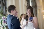 brides laughing during their wedding vows at The Rockleigh Country Club. LGBTQ wedding photographer