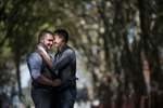 portrait of gay men's engagement photos at Governor's Island. Gay-friendly NYC wedding photographers