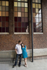 Engaged couple at the High Line in NYC. NYC engagement photography