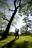 Silhouette couple during engagement session at Central Park