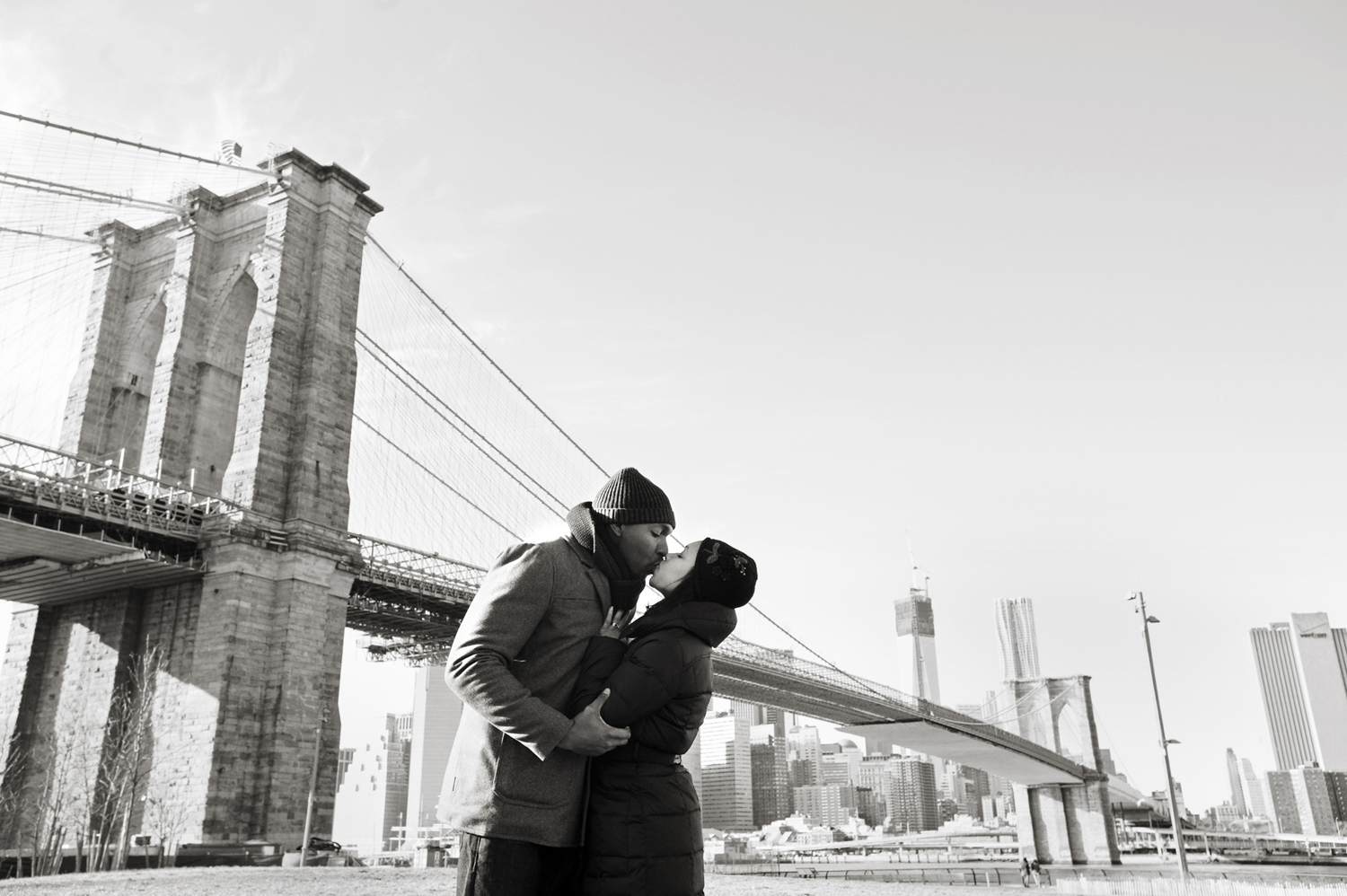 wintery engagement session at Brooklyn Bridge. Brooklyn wedding photographers