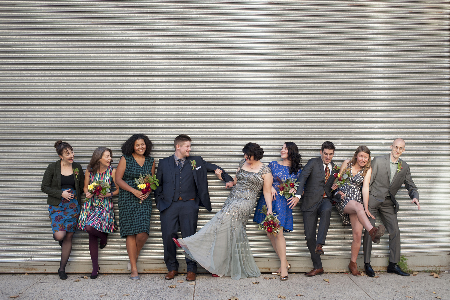 Eclectic creative wedding party portrait. Brooklyn wedding photographers