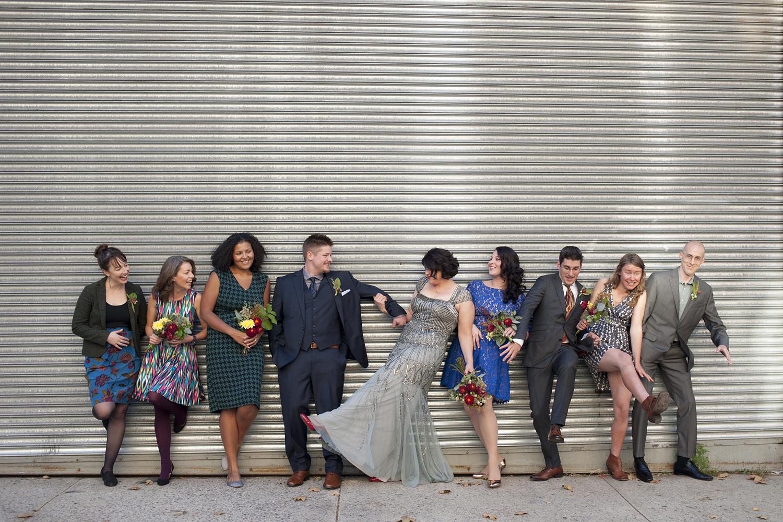 creative wedding party portrait. Brooklyn wedding photographers