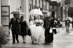 bride walking under umbrella on her wedding day wedding in New York City