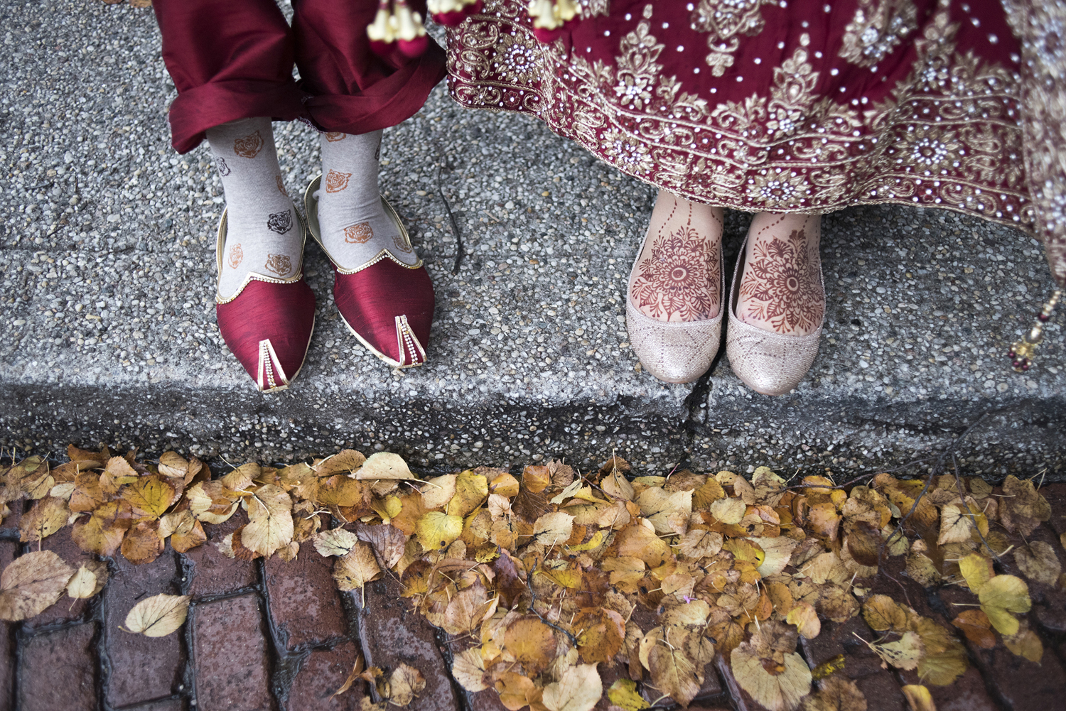 Indian wedding shoe details with fall leaves