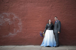 bride and groom in west village on wedding day. NYC wedding photographers