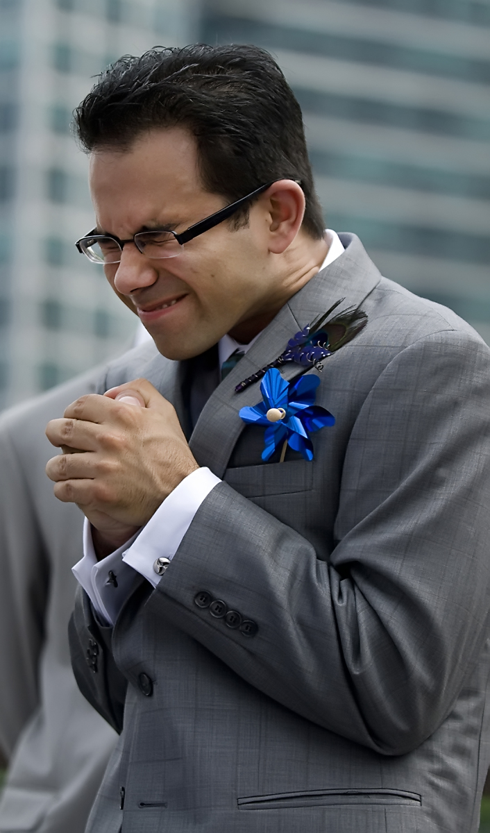 groom during wedding ceremony in Long Island City