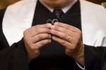 ring exchange during wedding ceremony at Liberty House. NYC wedding photographers