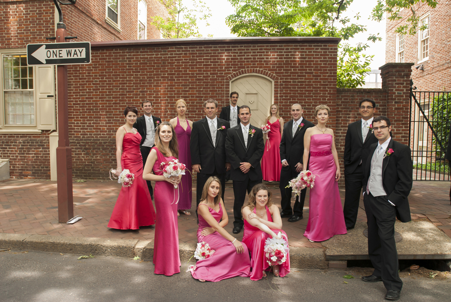 pink bridal party portrait in Old Town, Philadelaphia