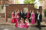colorful bridal party portrait in Old Town, Philadelaphia