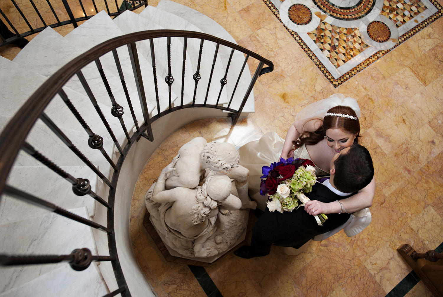 Portrait of bride and groom shot overhead on their wedding day at Pleasantdale Chateau