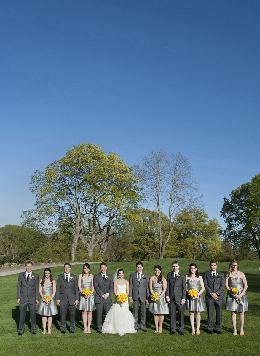 Portrait of bridal party against gorgeous blue sky at Preakness Hills Country Clib. NJ wedding photos