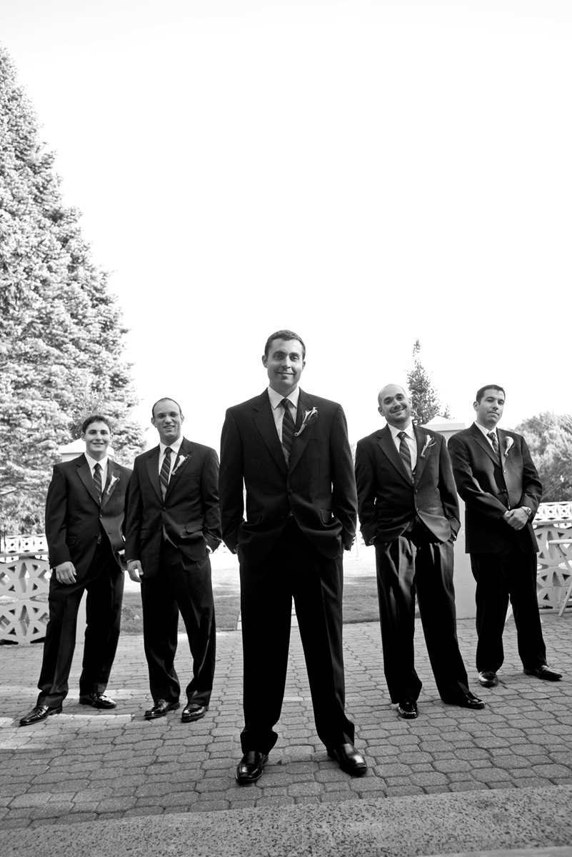 Groom with groomsmen on wedding day at Stone House at Stirling Ridge. NJ wedding photos