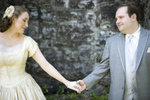Portrait of bride and groom at Red Mill Museum before their wedding. NJ wedding photography