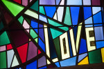 stained glass in church of love