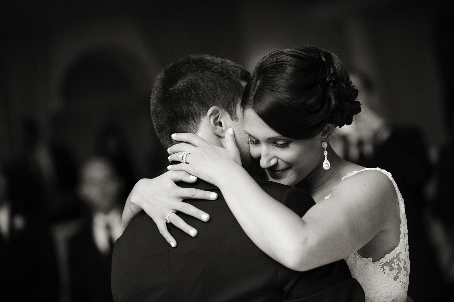 Bride and groom's first dance as married couple at their wedding at Nanina's in the Park. NJ wedding photographers