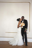 Portrait of black bride and groom on wedding day at Akwaaba Bed and Breakfast. NYC wedding photos
