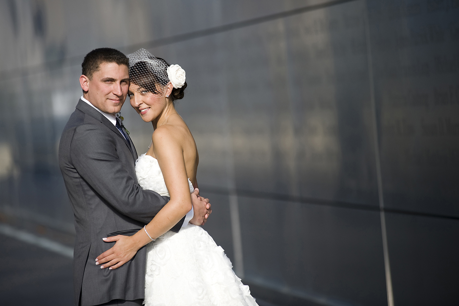 Portrait of bride and groom at Liberty State Park before their wedding at Liberty House.