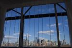 NYC skyline as seen from the ballroom at Liberty House Restaurant