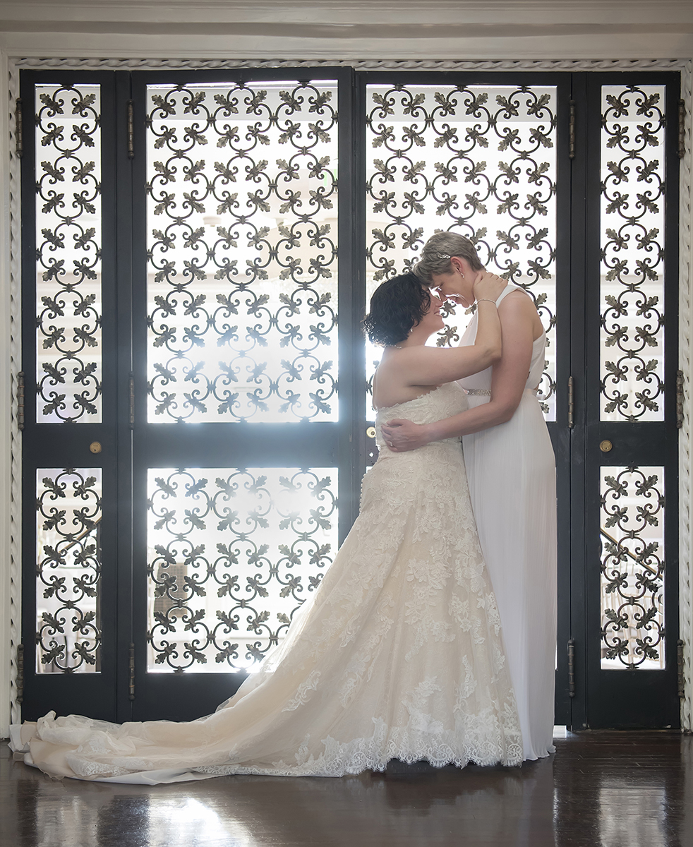 Brides sweet moment together at The Briarcliff Manor