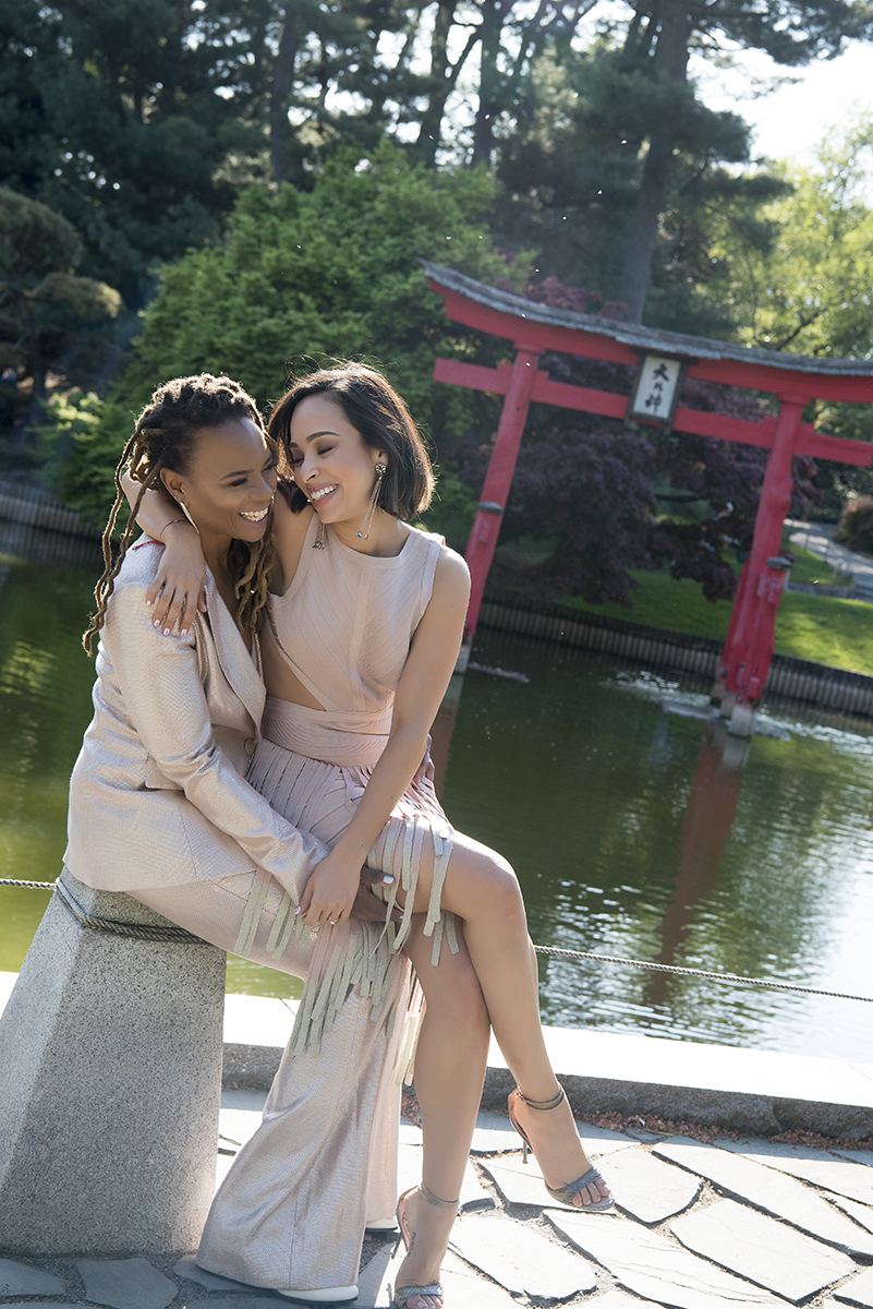 Lesbian couple engagement session at Brooklyn Botanical Garden