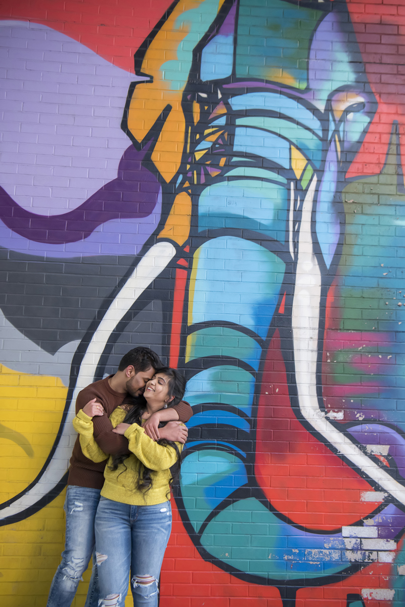 engaged couple against elephant mural in DUMBO Brooklyn during their engagement session. Brooklyn wedding photographers