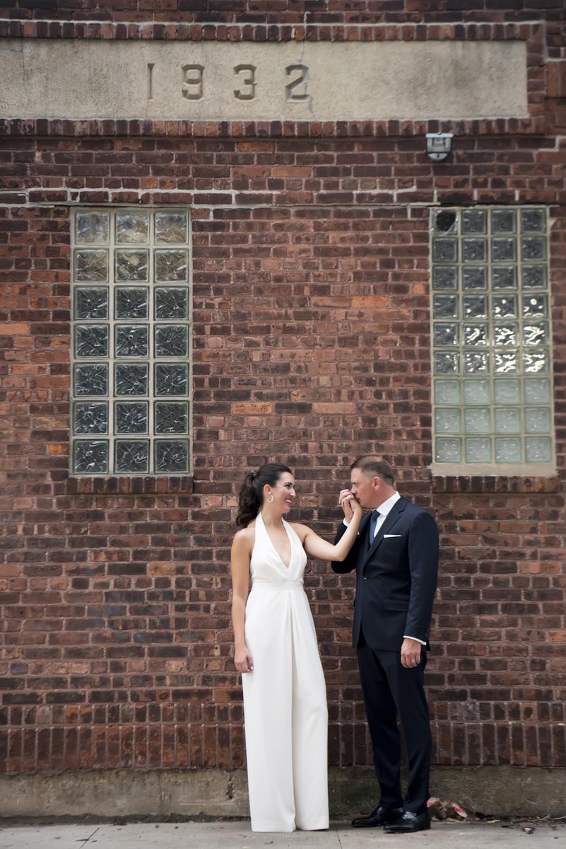 bride and groom in Hoboken before their wedding celebration at Kolo Klub