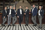 groomsmen posing for portrait at Hotel du Village in Bucks County