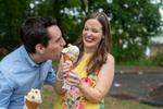 engagement session couple at Goodnoe's ice cream shop. Buvks County wedding photographers
