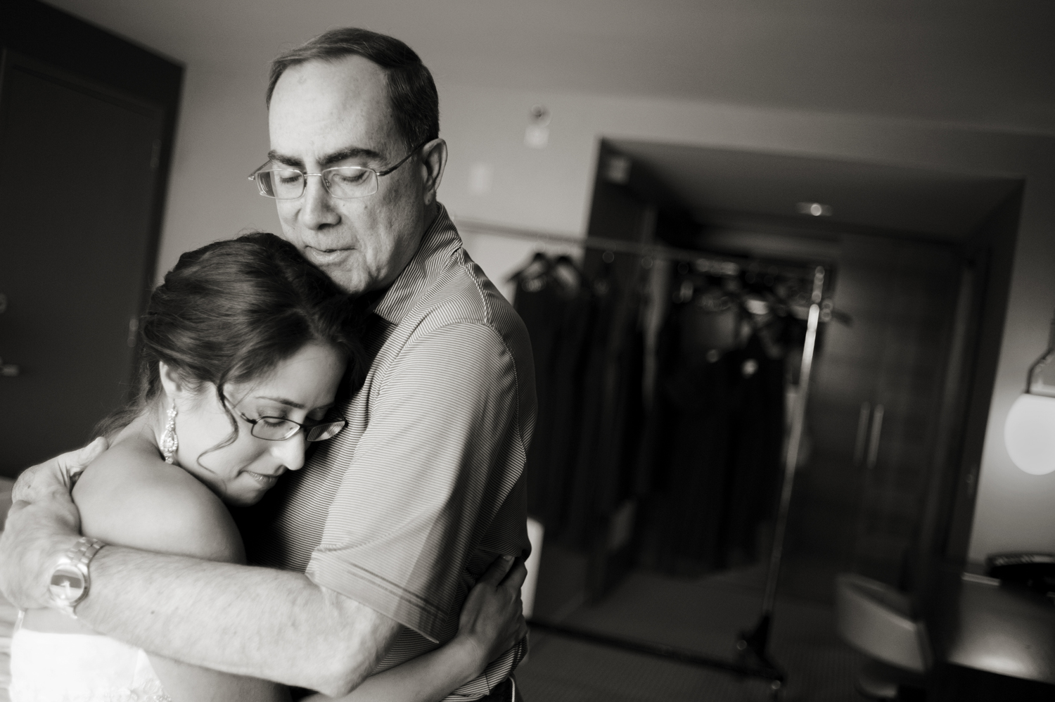 tender moment between bride and her father on wedding day in Jersey City.