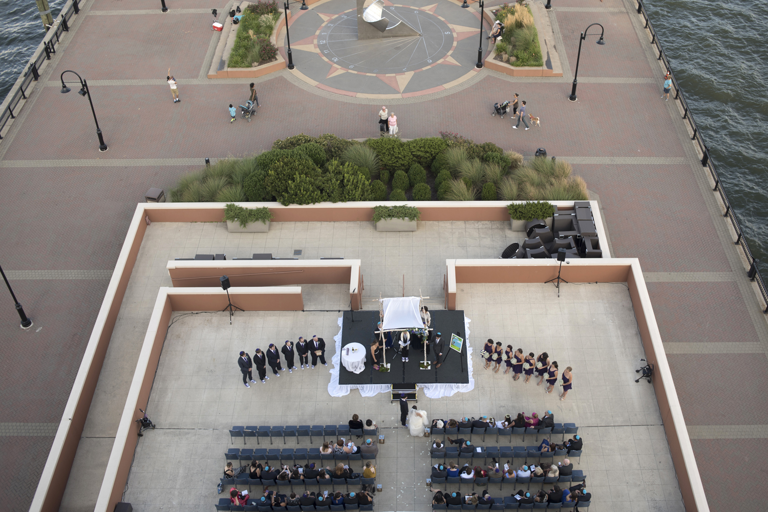 birds-eye view of Jersey City Hyatt Regency wedding ceremony