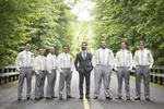 groom and groomsmen at Temple Emanu-El in Closter